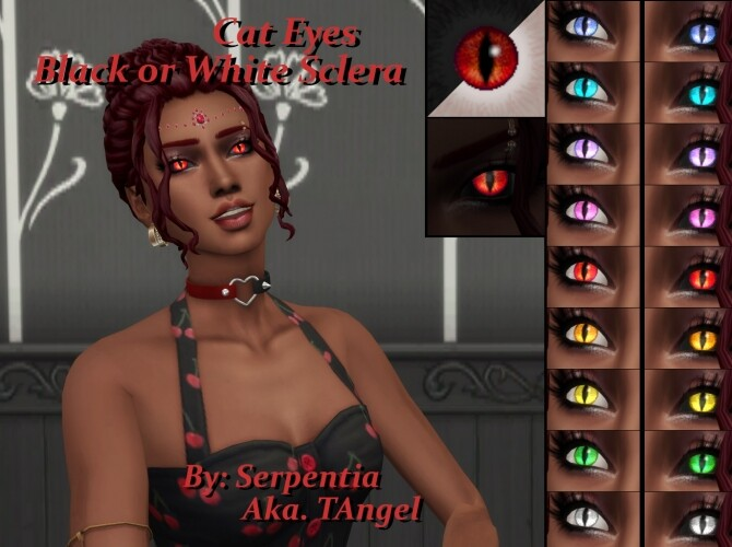 Sims 4 Glowing Cat Eyes, White or Black Sclera by Serpentia at Mod The Sims