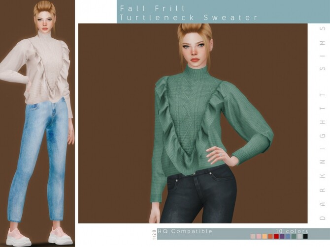 Sims 4 Fall Frill Turtleneck Sweater by DarkNighTt at TSR