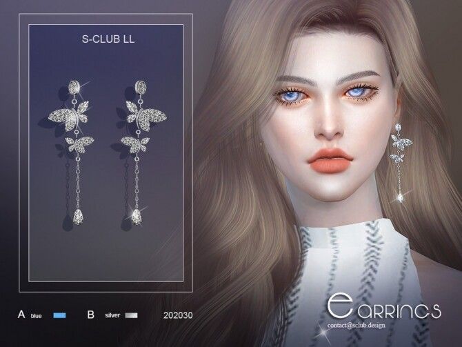 Sims 4 Butterfly earrings 202030 by S Club LL at TSR