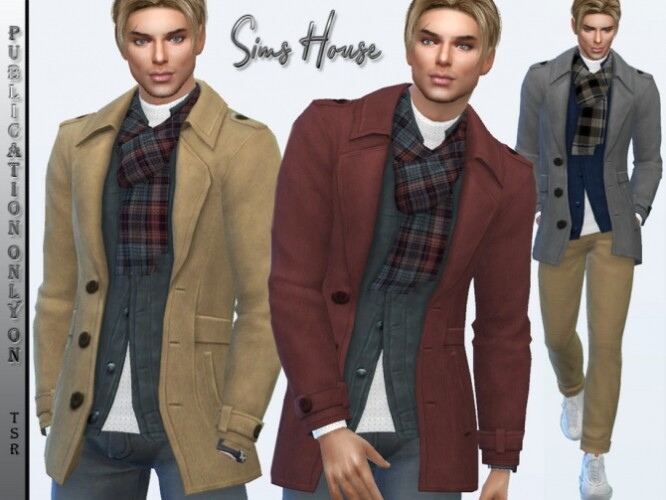 Men's short coat with scarf by Sims House