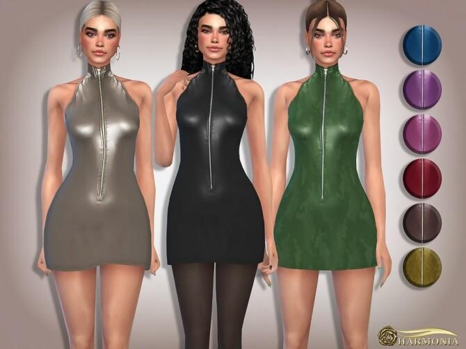 Sims 4 PU Zipper Turtleneck Dress by Harmonia at TSR
