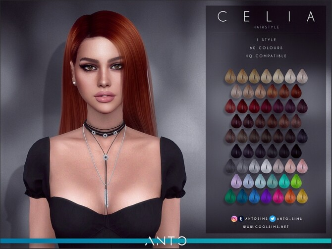 Sims 4 Celia Long straight hair by Anto at TSR