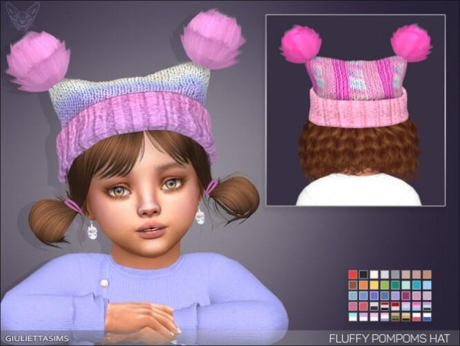 Fluffy Pompoms Hat For toddlers