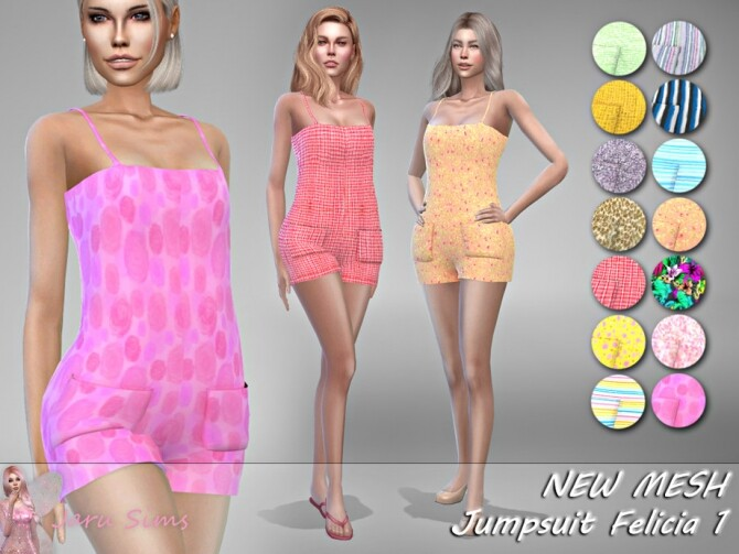 Sims 4 Jumpsuit Felicia 1 by Jaru Sims at TSR