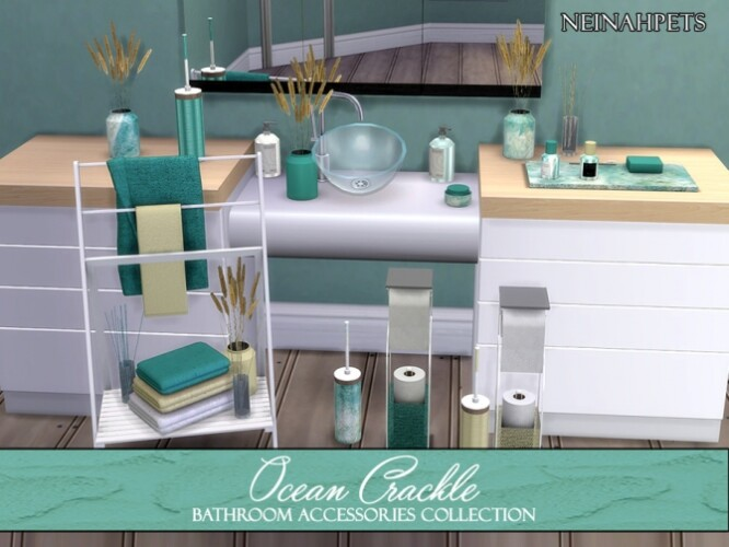 Ocean Crackle Bathroom Acc by neinahpets