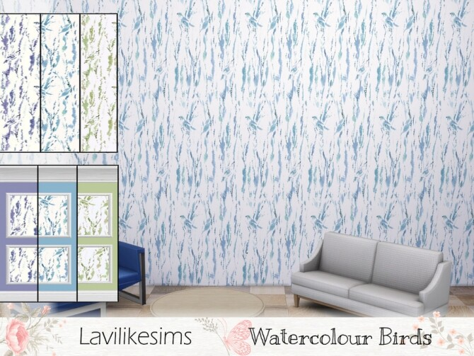 Sims 4 Watercolour Birds Wallpaper by lavilikesims at TSR
