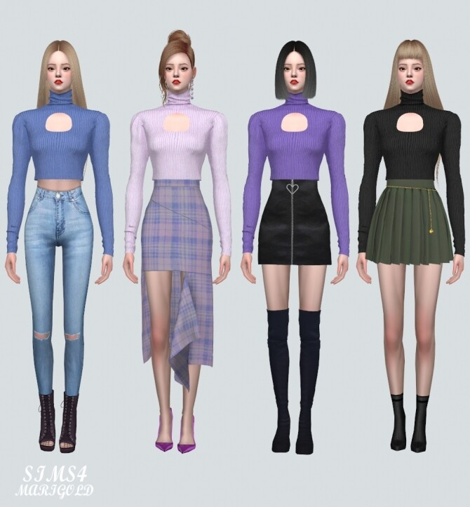 Sims 4 F Turtleneck Top V2 at Marigold