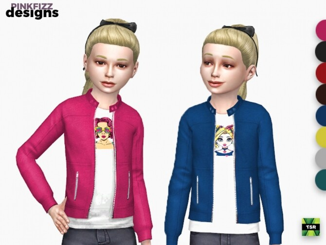 Sims 4 Junior Jacket & Tee by Pinkfizzzzz at TSR