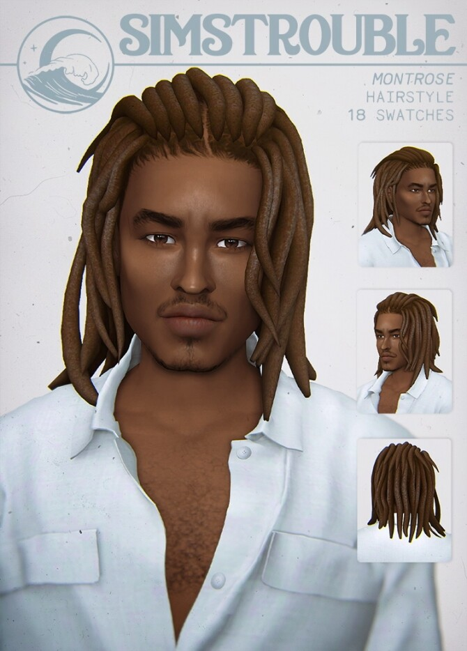 Sims 4 MONTROSE overgrown dreads hair for males at SimsTrouble