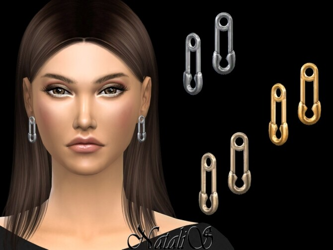 Sims 4 Safety pin earrings by NataliS at TSR
