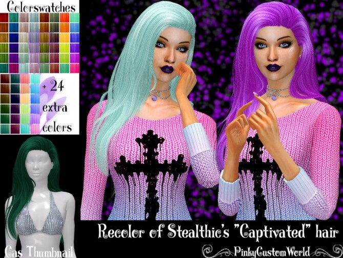 Recolor of Stealthics Captivated hair by PinkyCustomWorld