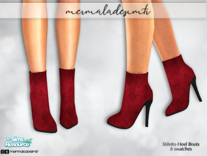 Sims 4 Suede Stiletto Heels Boots S02 by mermaladesimtr at TSR