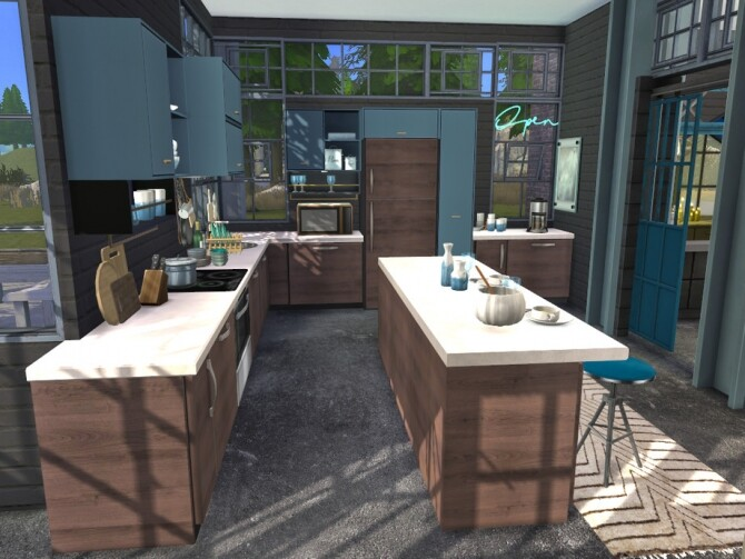 Sims 4 Brick & Steel Kitchen by fredbrenny at TSR
