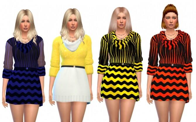 Sims 4 3/4 sleeve dresses at Louisa Creations4Sims