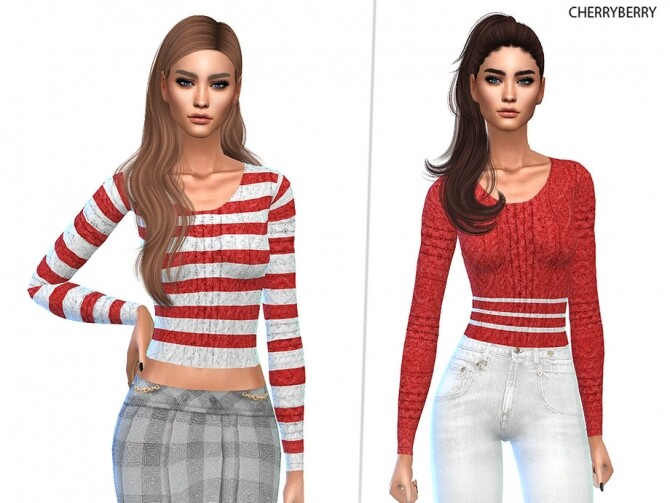 Sims 4 Candy Cane Sweater by CherryBerrySim at TSR