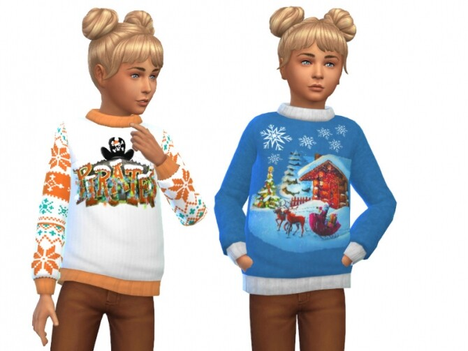 Sims 4 Christmas sweater for kids at Louisa Creations4Sims