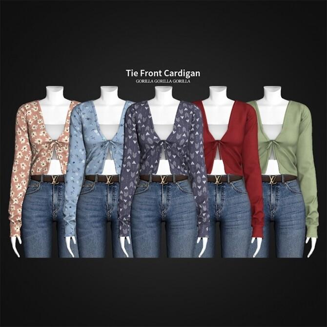 Sims 4 Tie Front Cardigan at Gorilla