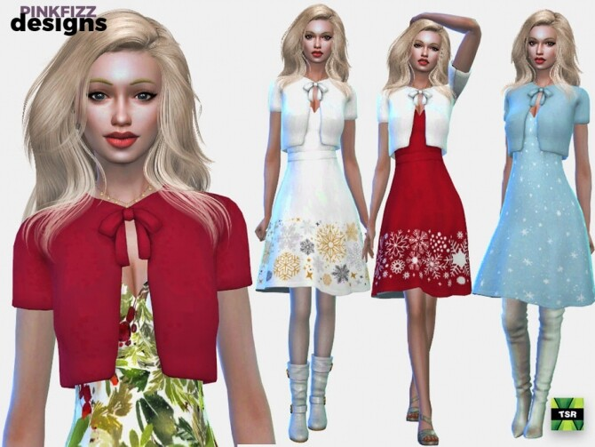 Sims 4 Party Christmas Dress by Pinkfizzzzz at TSR