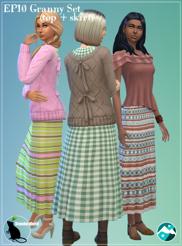 Sims 4 EP10 Granny Set (top + skirt) at Standardheld