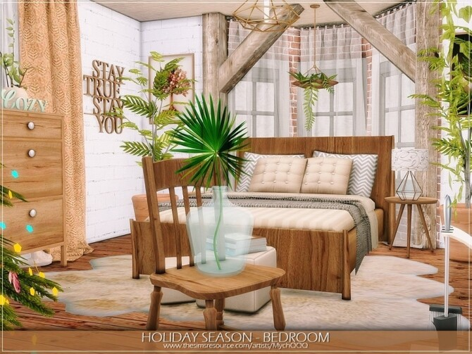 Sims 4 Holiday Season Bedroom by MychQQQ at TSR
