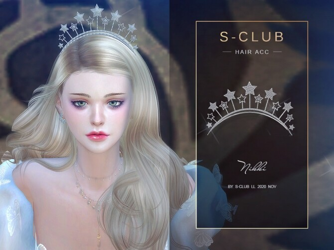Sims 4 Stars Crystal Crown Hair CC 202020 by S Club LL at TSR