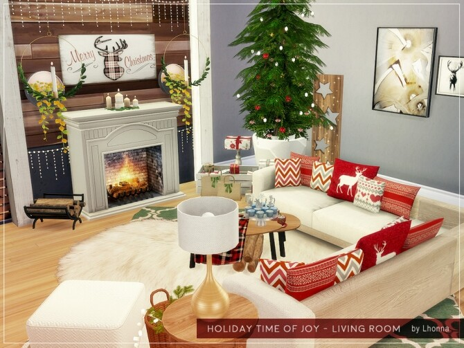 Sims 4 Holiday Time of Joy Living Room by Lhonna at TSR
