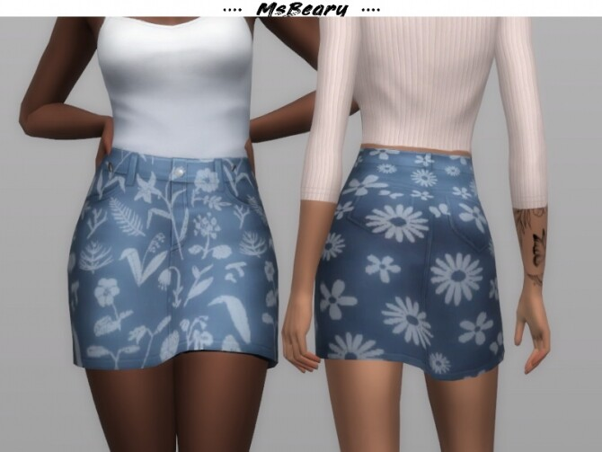 Sims 4 Recolored Floral Skirt by MsBeary at TSR