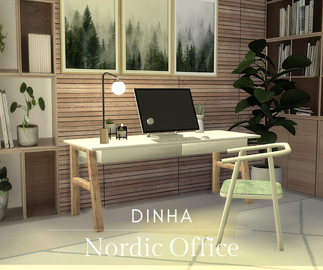 Sims 4 Nordic Office Desk & Chair at Dinha Gamer