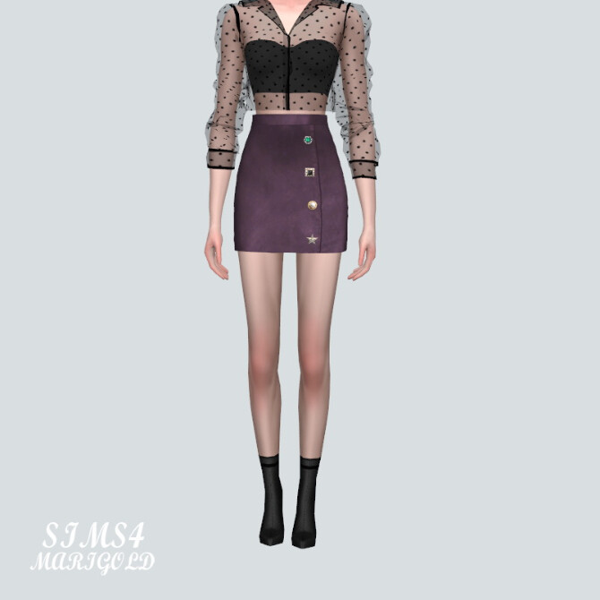 Sims 4 Leather Mini Skirt at Marigold