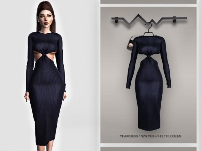 Sims 4 Midaxi Dress BD393 by busra tr at TSR