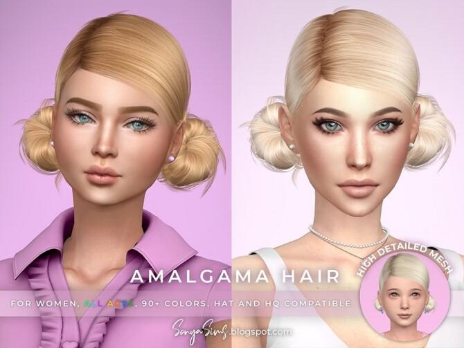 Sims 4 Amalgama Hair by SonyaSimsCC at TSR