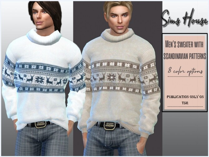 Sims 4 Sweater with scandinavian patterns by Sims House at TSR