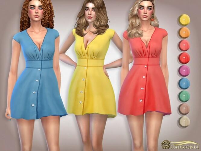V-Neck Flattering Mini Dress by Harmonia