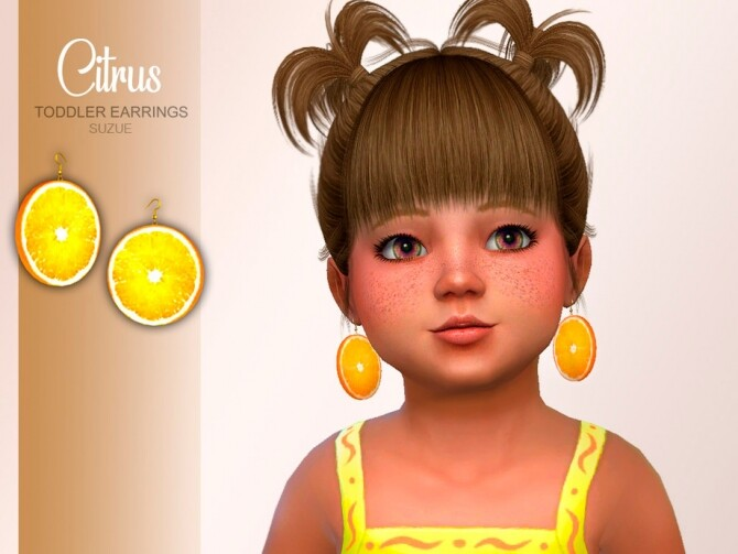 Sims 4 Citrus Toddler Earrings by Suzue at TSR