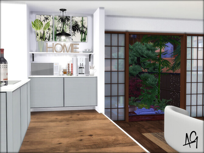 Sims 4 Zen Kitchen Room by ALGbuilds at TSR