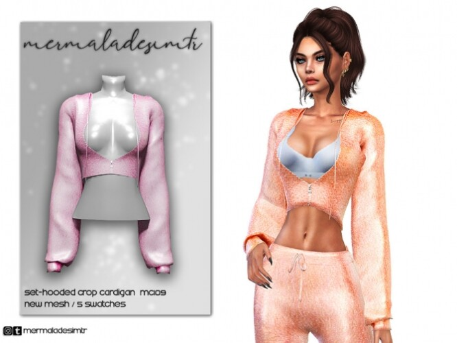 Set Hooded Crop Cardigan MC109 by mermaladesimtr