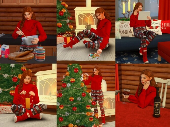 Sims 4 Alone on Christmas Pose Pack at Katverse