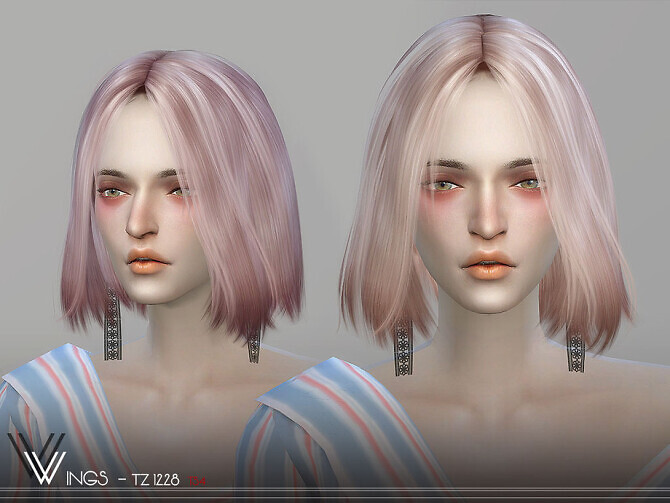 Sims 4 WINGS TZ1228 hair by wingssims at TSR