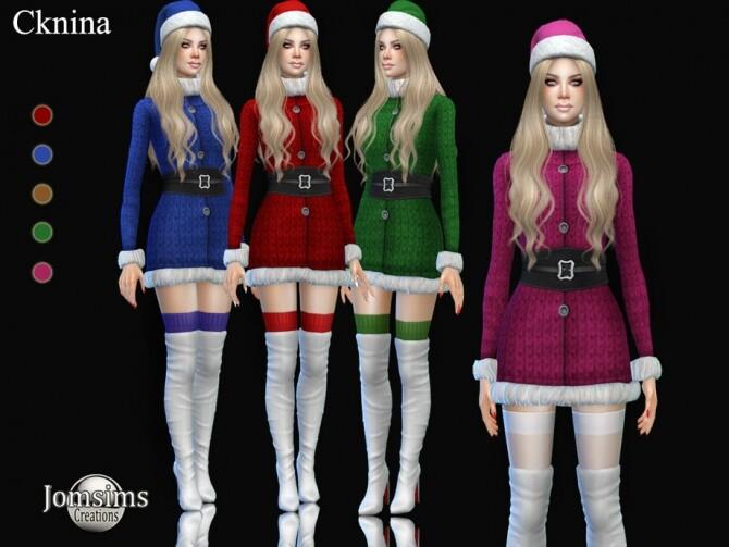 Sims 4 Cknina christmas dress by jomsims at TSR