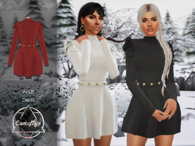 Sims 4 Allie Dress by Camuflaje at TSR