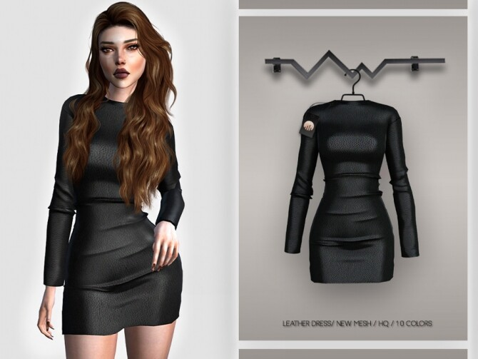 Sims 4 Leather Dress BD388 by busra tr at TSR