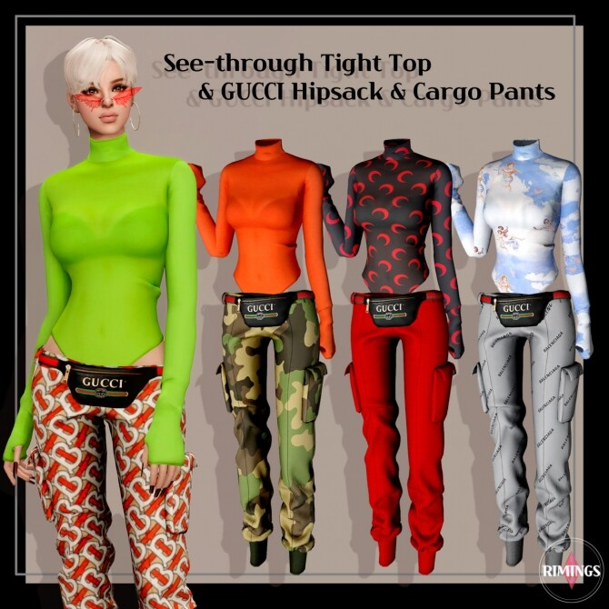 Tight Top & Hipsack & Cargo Pants at RIMINGs image 1442 670x670 Sims 4 Updates