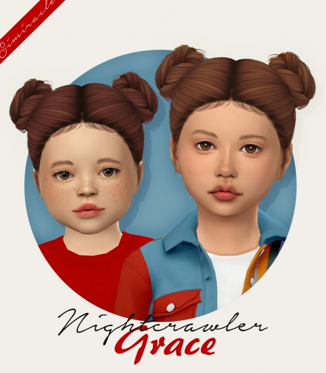 Sims 4 Nightcrawler Grace hair for kids & toddlers at Simiracle