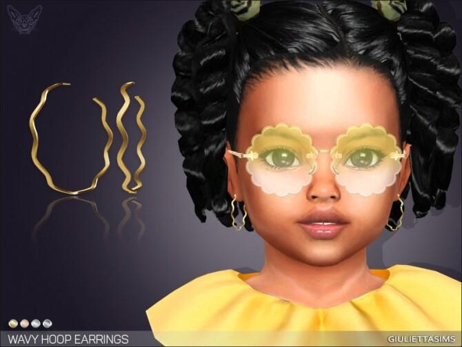Sims 4 Wavy Hoop Earrings For Toddlers at Giulietta