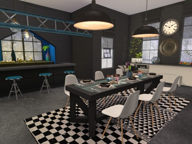 Sims 4 Brick & Steel Dining by fredbrenny at TSR