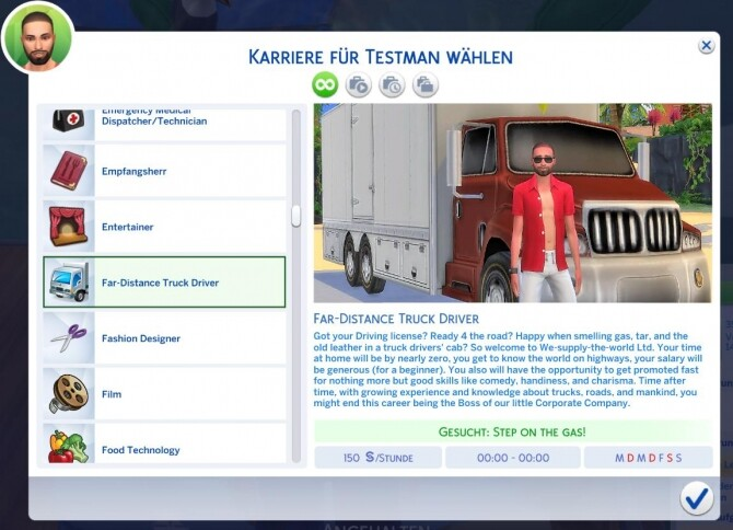 Sims 4 Far Distance Truck Driver Career by helene912 at Mod The Sims