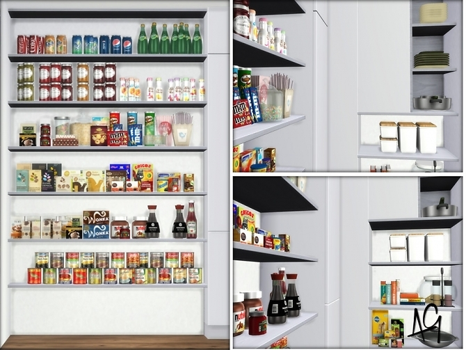 Sims 4 Large Stocked Pantry Room by ALGbuilds at TSR