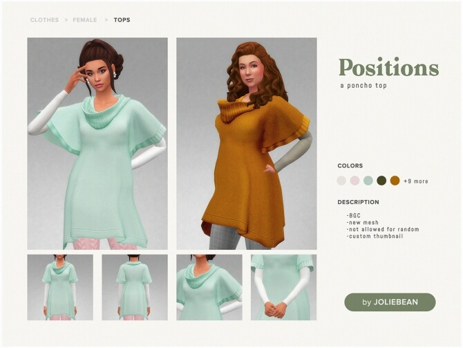 Sims 4 Positions poncho top at Joliebean