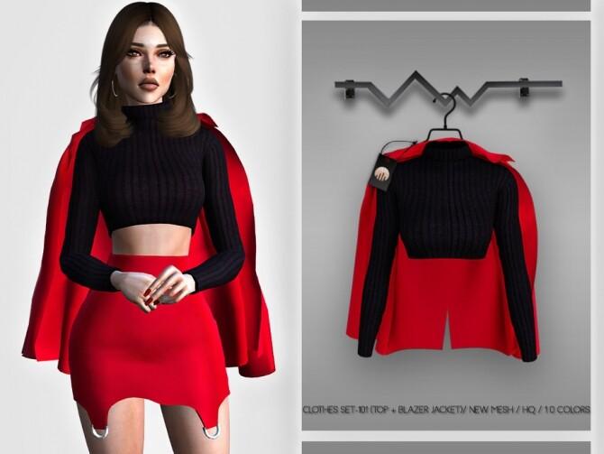 Sims 4 Clothes SET 101 (TOP + BLAZER JACKET) BD379 by busra tr at TSR