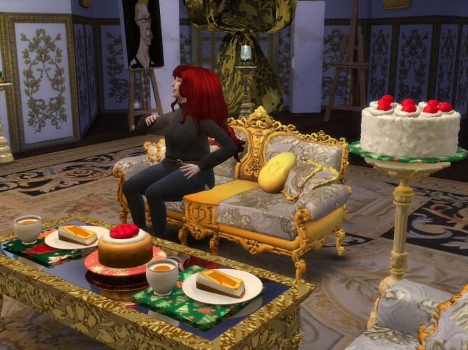 Sims 4 Coffee & Cakes In Christmas Plates at Anna Quinn Stories